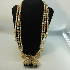 Jewelry - 3 Strand Beaded Necklace/matching clip on Earrings